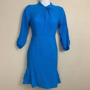 Nanette Lepore Blue Silk Embossed Dress 2 C1